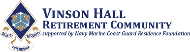 Vinson Hall Retirement Community supported by Navy Marine Coast Guard Residence Foundation Logo with Dignity, Friendship and Security